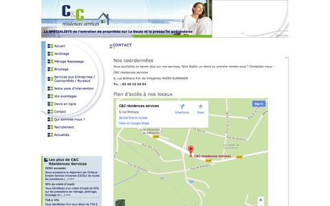 Screenshot of Contact Page c-et-c.fr - C et C - Résidences Services : ménage, jardinage, bricolage, service à la personne, entretien, intendance, maintenance, villa, résidence secondaire à La Baule, Pornichet, Guérande (Loire-Atlantique - 44) - captured Oct. 1, 2014