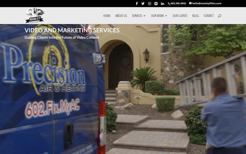 Screenshot of Services Page manleyfilms.com - Video & Marketing Services | Manley Films & Media - captured Oct. 5, 2017