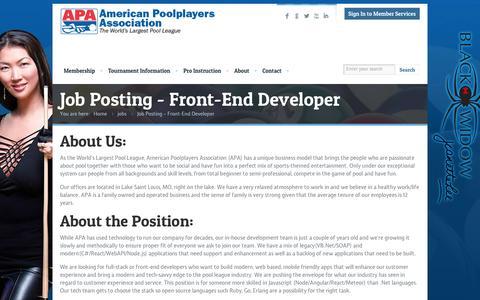 Screenshot of Developers Page poolplayers.com - Front End Developer - Job posting at American Poolplayers AssocAmerican Poolplayers Association - captured Nov. 11, 2016