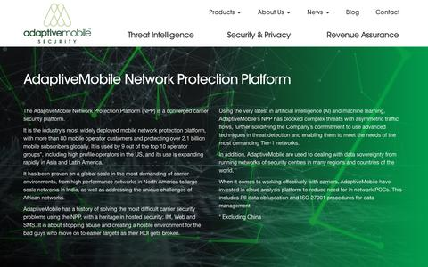 Screenshot of Products Page adaptivemobile.com - Network Protection Platform | AdaptiveMobile - captured July 29, 2018