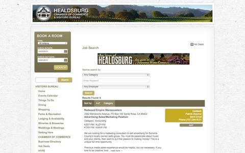 Screenshot of Jobs Page healdsburg.com - Job Search - Healdsburg Sonoma County CA Visitors Bureau - captured Oct. 2, 2014