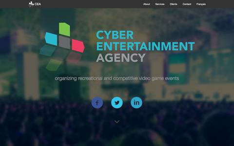 Screenshot of Home Page cea-acd.com - Cyber Entertainment Agency - captured Feb. 2, 2016