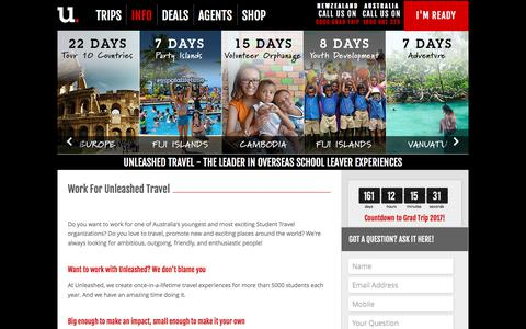 Screenshot of Jobs Page unleashedtravel.com.au - Work for Us - Unleashed Travel - captured June 12, 2017
