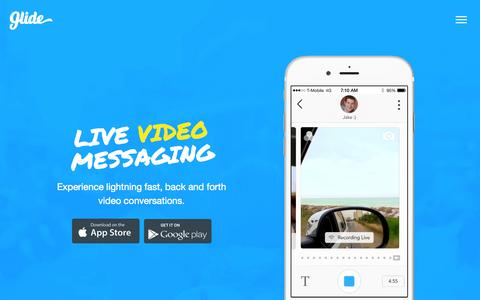 Screenshot of Home Page glide.me - Glide - Live Video Messaging - captured Sept. 17, 2015