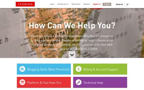 Screenshot of Support Page lexblog.com - Improve Your Blogging and Get Technical or Account Support | LexBlog - captured Sept. 23, 2014