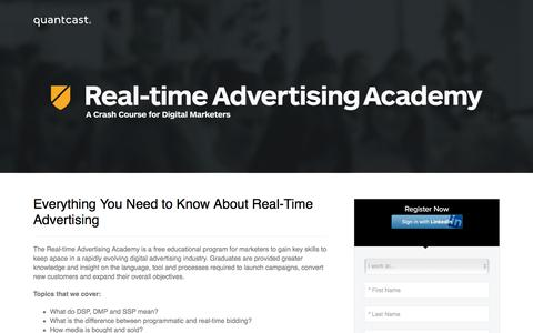 Screenshot of Landing Page quantcast.com - Quantcast's Real-Time Advertising Academy - captured April 20, 2017