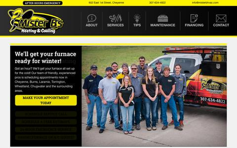 Screenshot of Home Page misterbhvac.com - Home - Mister B's HVAC - captured Oct. 18, 2018