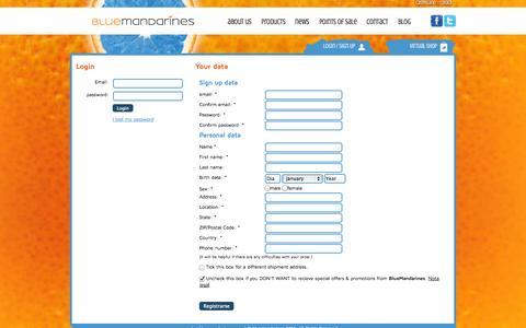 Screenshot of Signup Page bluemandarines.com - Sign up | Blue Mandarines - captured Sept. 30, 2014