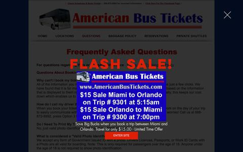 Screenshot of FAQ Page busticketreservations.com - Florida Express Bus Contact - captured May 7, 2018