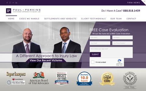 Screenshot of Home Page paulandperkins.com - Orlando Personal Injury Attorneys - Paul & Perkins PA - captured June 9, 2018