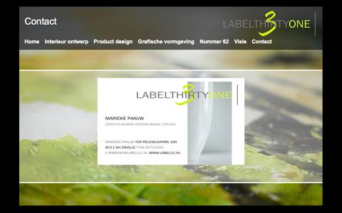 Screenshot of Contact Page label31.nl - Label 31 - Contact - captured Sept. 27, 2014
