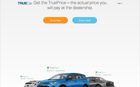 Screenshot of Home Page truecar.com - Car Prices, Owner Reviews & Inventory | New & Used Cars | TrueCar - captured May 10, 2018