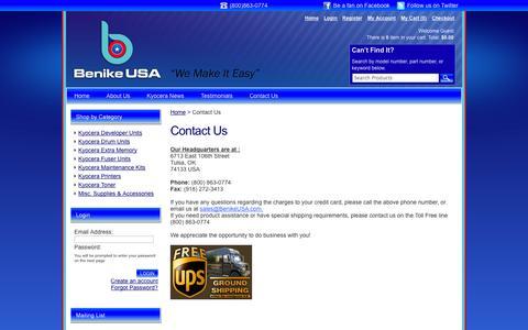 Screenshot of Contact Page benikeusa.com - Benike USA - Contact Us - captured Sept. 30, 2014