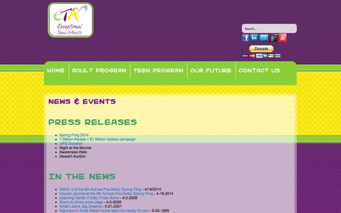 Screenshot of Press Page exceptionalteensadults.org - Events & News - Exceptional Teens & Adults - captured Nov. 2, 2014