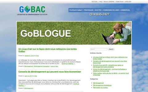 Screenshot of Blog gobac.ca - GoBLOG - captured Oct. 2, 2014