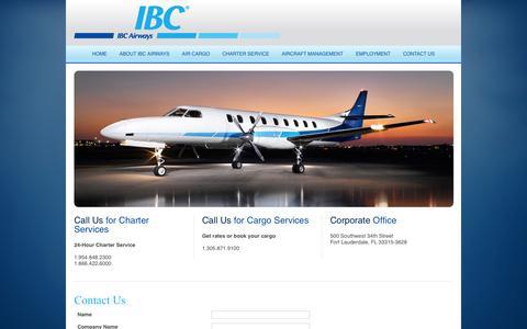Screenshot of Contact Page ibcairways.com - Contact Us - captured Sept. 30, 2014
