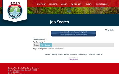 Screenshot of Jobs Page spartatnchamber.com - Job Search - Sparta-White County Chamber of Commerce, TN - captured Dec. 3, 2016
