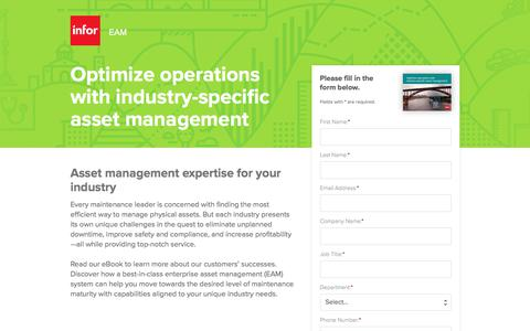 Screenshot of Landing Page infor.com - Optimize operations with industry-specific asset management - captured April 14, 2018