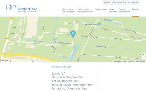Screenshot of Contact Page nedercare.nl - Neem Contact Op - Nedercare - captured Jan. 21, 2016