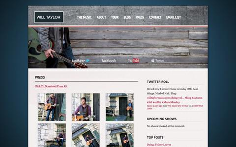 Screenshot of Press Page willtaylormusic.com - » Press Will Taylor - captured Oct. 26, 2014