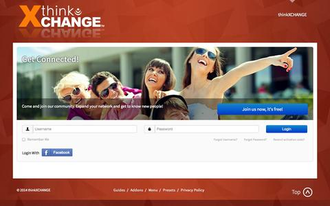 Screenshot of Home Page thinkxchange.com - Welcome to thinkXCHANGE - captured Oct. 9, 2014
