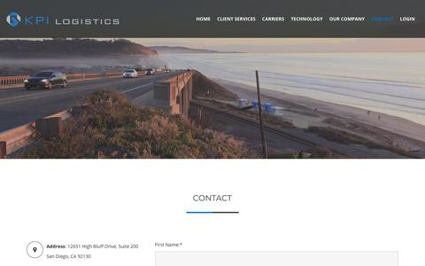 Screenshot of Contact Page kpilogistics.com - Contact | KPI Logistics - captured Dec. 17, 2017