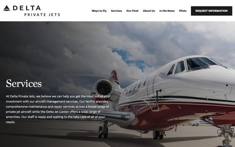Screenshot of Services Page deltaprivatejets.com - Services | Delta Private Jets - captured Oct. 22, 2019