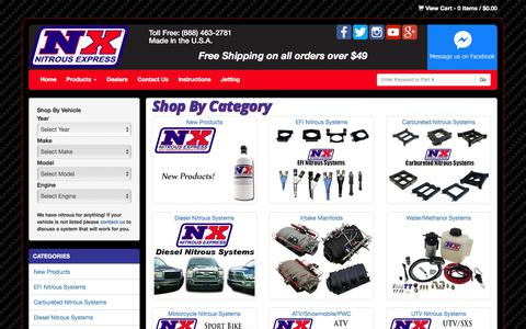 Screenshot of Products Page nitrousexpress.com - Shop By Category - captured June 14, 2017