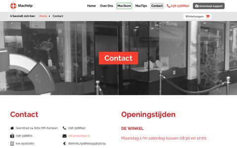 Screenshot of Contact Page machelp.nl - Contact   MacHelp - captured Oct. 1, 2018