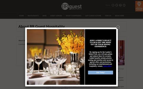 Screenshot of About Page brguesthospitality.com - BR Guest Hospitality About Us | US Restaurants & Bars | BR Guest Hospitality - captured May 2, 2017