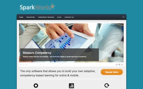 Screenshot of Home Page sparkworks.co - Adaptive learning for competency-based education - captured Oct. 7, 2014