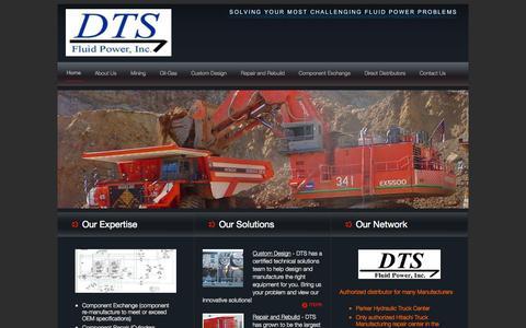 Screenshot of Home Page dtsfluid.com - DTS Fluid Power - captured Oct. 5, 2014