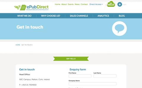 Screenshot of Contact Page epubdirect.com - ePubDirect - Global eBook Distribution - Contact Us - captured Sept. 16, 2014