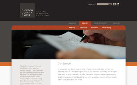 Screenshot of Services Page ddwca.com - Our Services | Dickson Dusanj Wirk | Chartered Accountants - captured Oct. 9, 2018