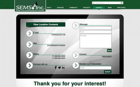 Screenshot of Contact Page semsinc.net - Sems, Inc. l Contact - captured Sept. 29, 2017