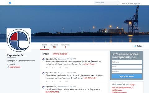 Screenshot of Twitter Page twitter.com - Exportaric, S.L. (@exportaric) | Twitter - captured Oct. 23, 2014