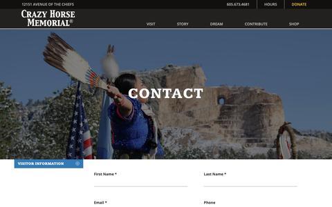 Screenshot of Contact Page crazyhorsememorial.org - Contact : Crazy Horse Memorial® - captured Nov. 11, 2018