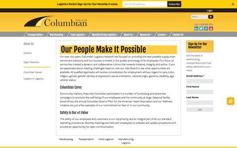 Screenshot of Jobs Page columbianlogistics.com - Careers | Columbian Logistics | Transportation | Grand Rapids, MI - captured Jan. 30, 2016