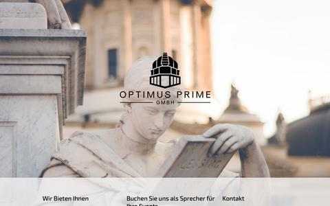 Screenshot of Home Page op-group.info - - Optimus Prime GmbH - - captured Sept. 28, 2018