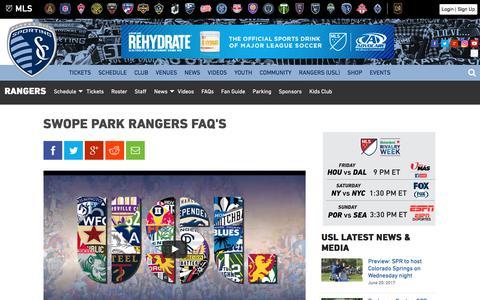 Screenshot of FAQ Page sportingkc.com - Swope Park Rangers FAQ's | Sporting Kansas City - captured June 21, 2017