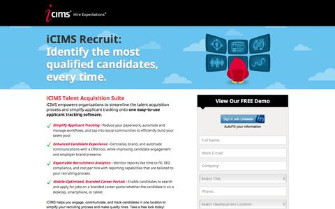 Screenshot of Landing Page icims.com - Applicant Tracking Software | Recruitment Software | iCIMS Talent Acquisition Suite - captured Dec. 10, 2015