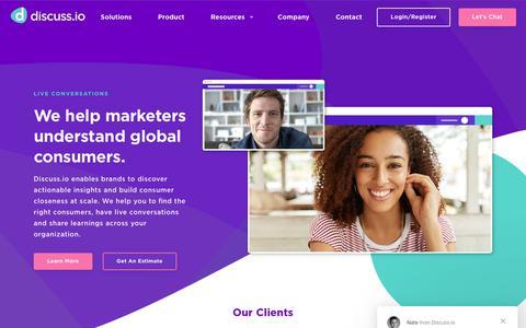 Screenshot of Home Page discuss.io - Online Marketing Research - Market Research Platform|Discuss.io - captured Nov. 6, 2018