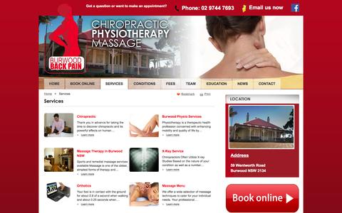 Screenshot of Services Page burwoodbackpain.com.au - Services | Burwood Chiropractor - captured Jan. 7, 2016
