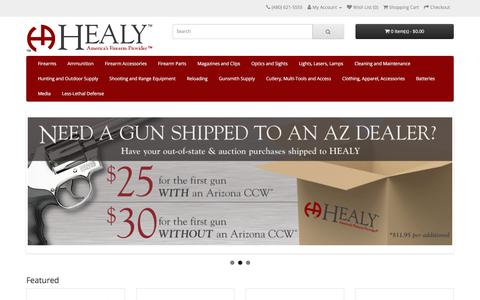 Screenshot of Home Page healyarms.com - HEALY - America's Firearm Provider - captured Sept. 26, 2018