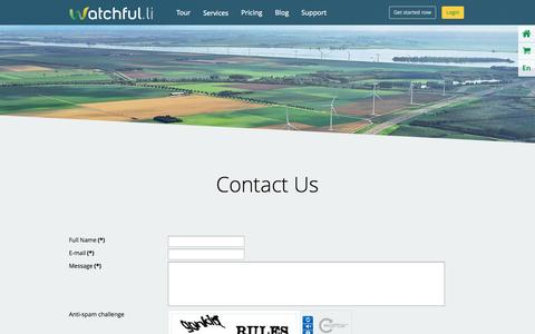 Screenshot of Contact Page watchful.li - Contact Us - Feel free to drop us a note - Watchful - captured Sept. 23, 2014
