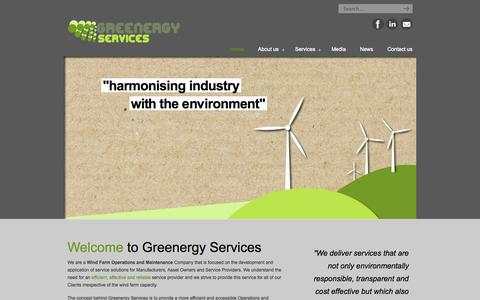Screenshot of Home Page greenergyservices.com - Greenergy Services | Wind Farm Services - captured Oct. 3, 2014