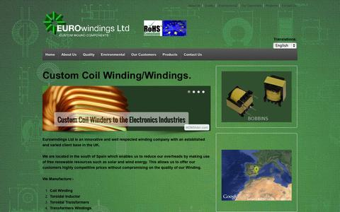 Screenshot of Home Page eurowindings.eu - Coil Windings for the Windings Industry. | Custom Coil Winding for Electronics Windings Industries - captured Oct. 3, 2014