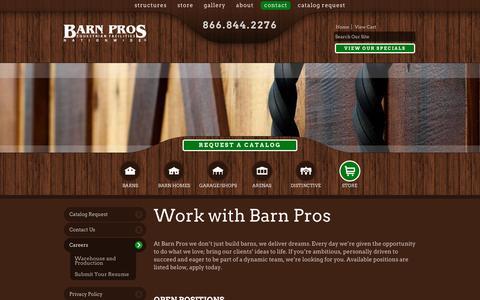 Screenshot of Jobs Page barnpros.com - Careers - captured Feb. 7, 2016