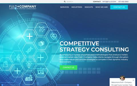 Screenshot of Home Page fuld.com - Competitive Strategy Consulting that Differentiates with Fuld + Company - captured Aug. 22, 2019