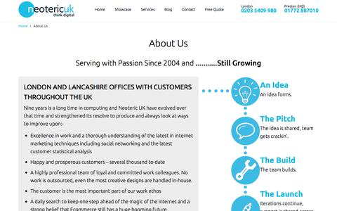 Screenshot of About Page neotericuk.co.uk - About Neoteric UK- Website Design UK | Seo Services UK | E-commerce Company - captured Aug. 22, 2016